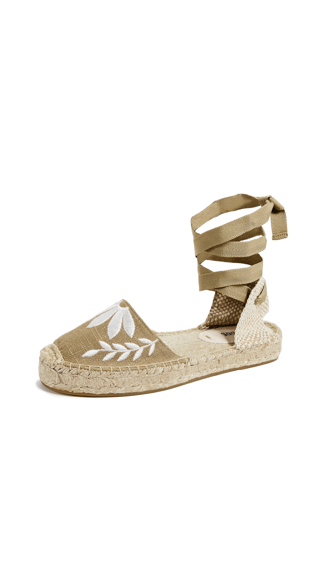 Soludos Embroidered Floral Sandals - Khaki