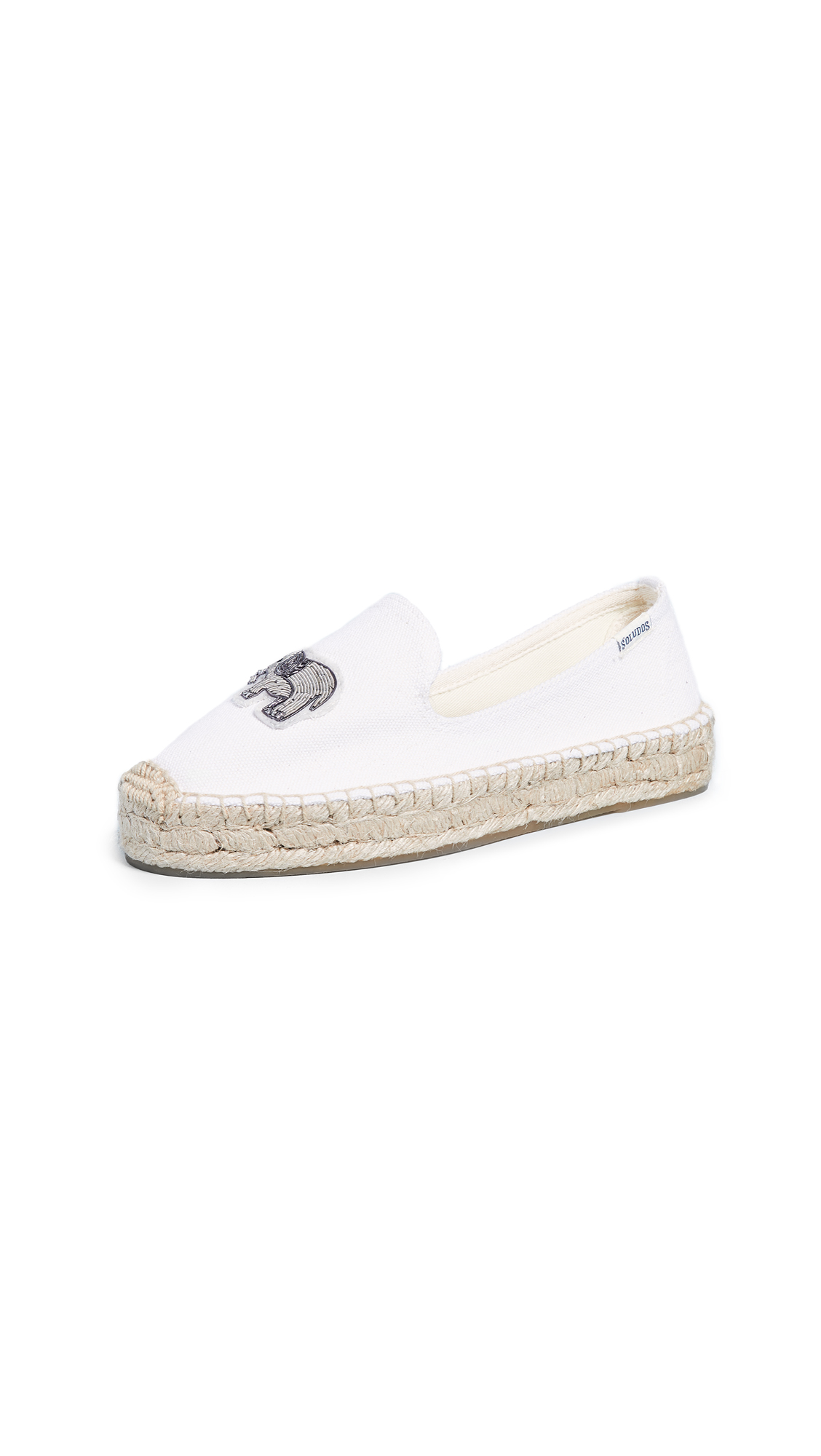Soludos Elephant Beaded Smoking Slippers - White