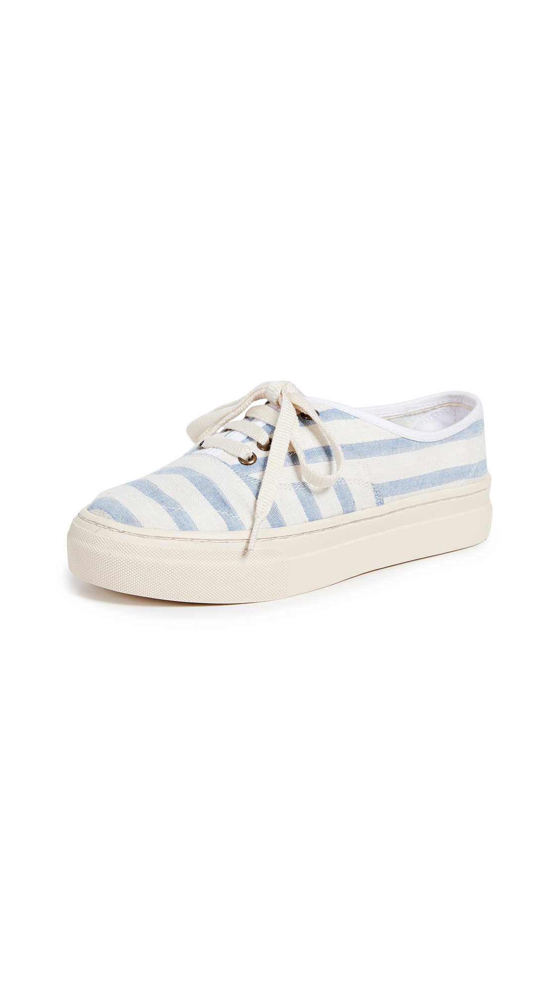 Soludos Platform Stripe Sneakers - Natural/Blue