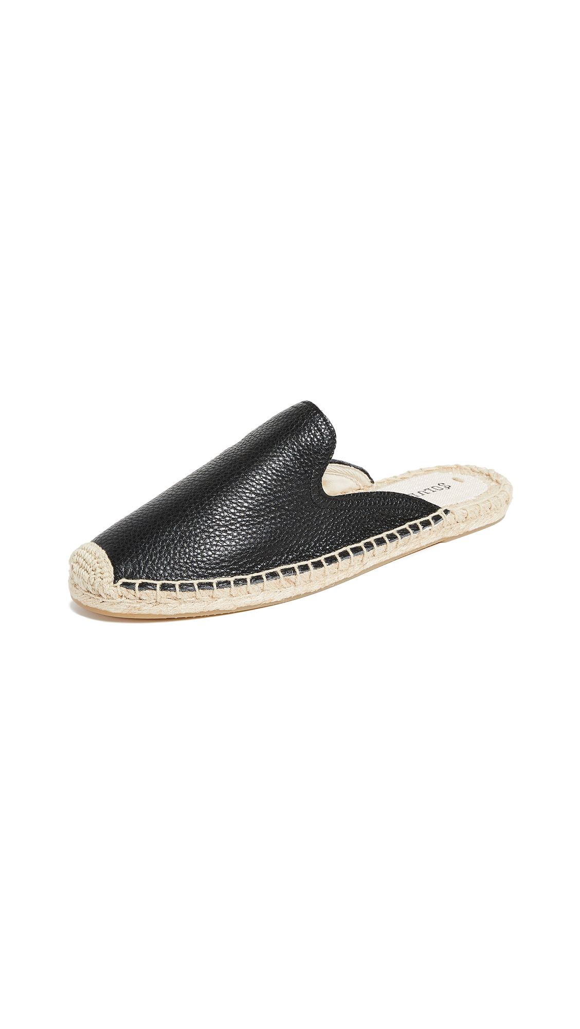 Soludos Tumbled Leather Mules - Black