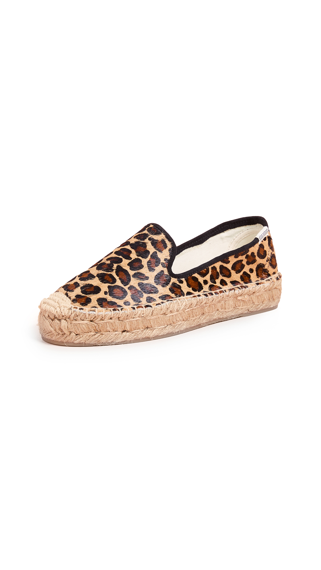 Soludos Haircalf Platform Smoking Slippers - Leopard