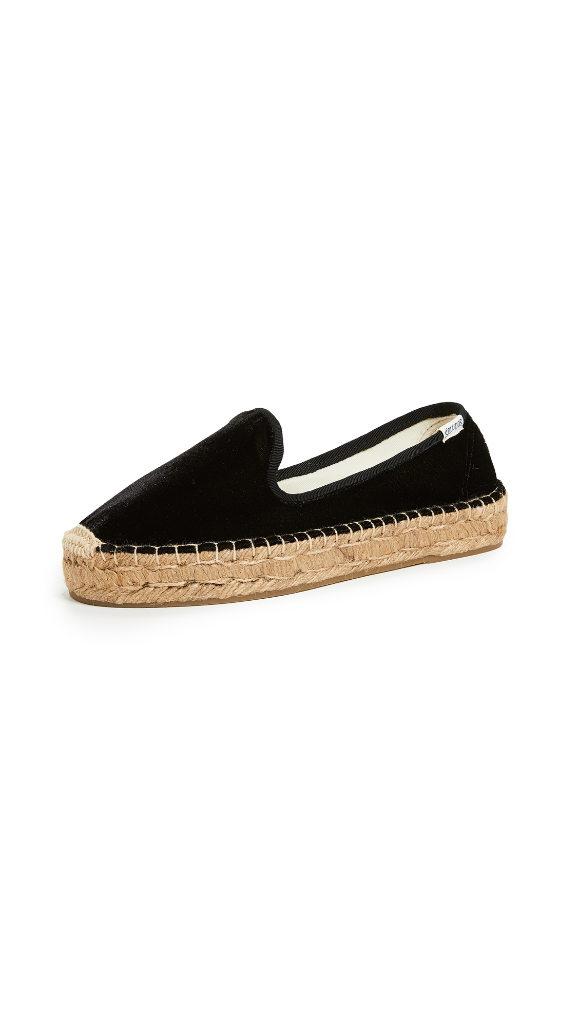 Soludos Velvet Platform Smoking Slippers - Black