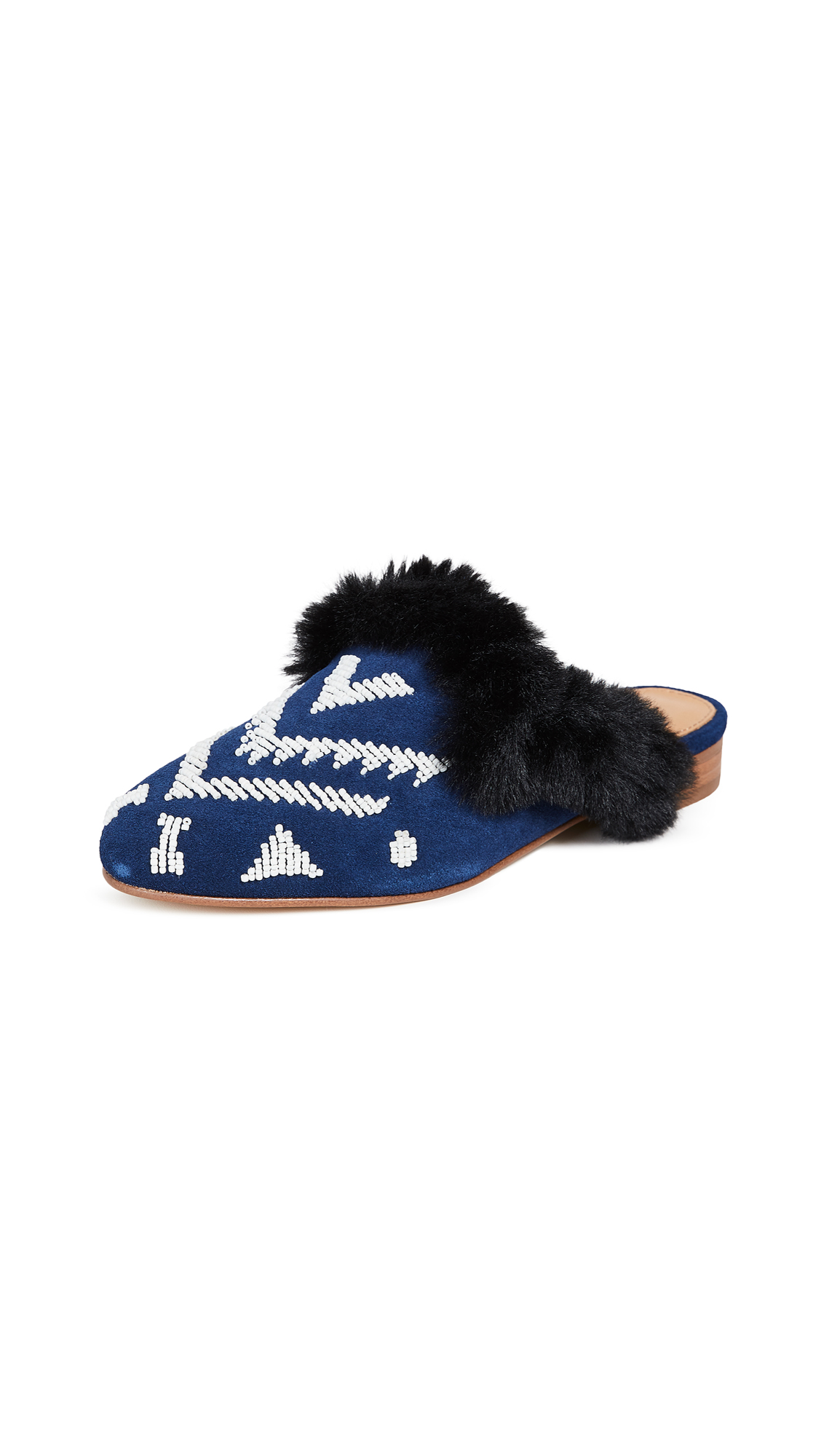 Soludos SEDONA FAUX FUR BEADED MULES