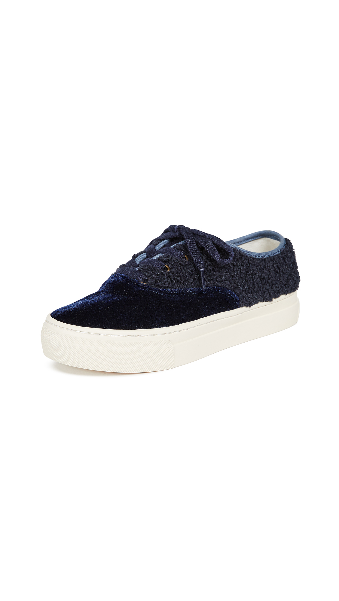 Soludos Porto Platform Velvet Sneakers - Midnight Blue