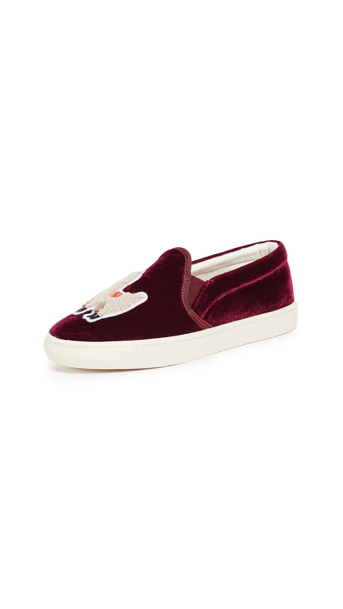 Soludos Velvet Llama Slip On Sneakers - Sangria