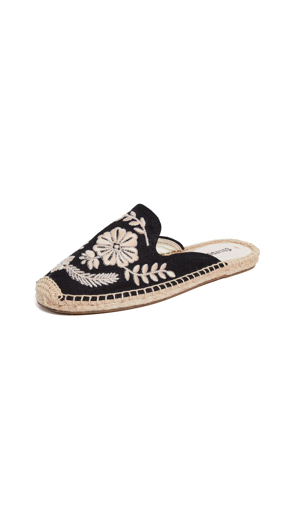Tuilleries Embroidered Flat Mules in Black