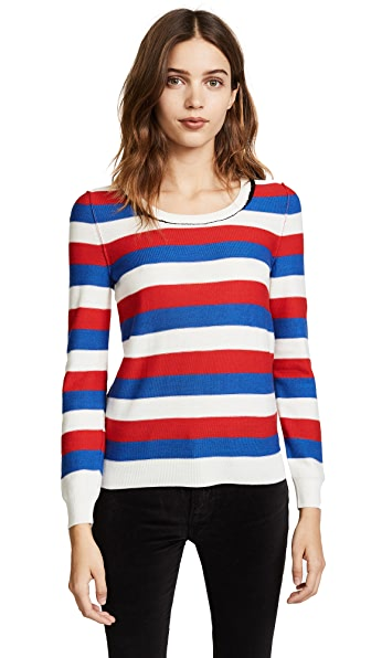 Sonia Rykiel Round Neck Sweater In Ecru/Bleu/Rouge