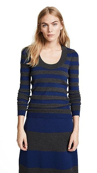 Sonia Rykiel Scoop Sweater In Gris Melange/Bleu Melange