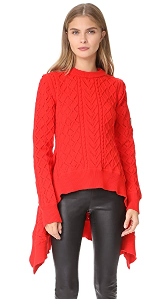 Sonia Rykiel Cable Knit Sweater - Rouge Flamme