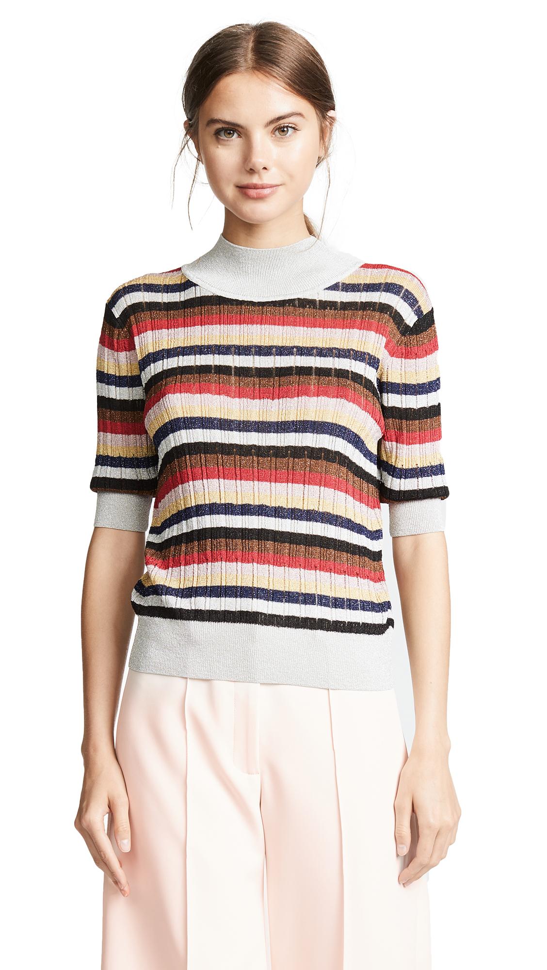 SONIA RYKIEL Multicolor Striped Knit Top in Metallic