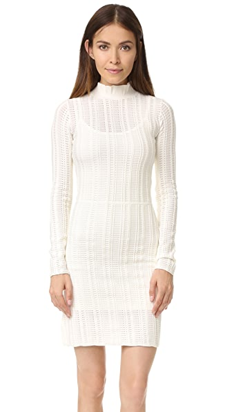 Sonia by Sonia Rykiel Ladder Stitch Turtleneck Dress - Ecru
