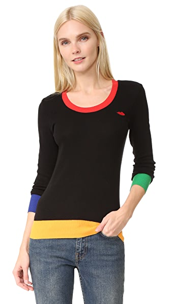 Sonia by Sonia Rykiel Embroidered Lips Multicolor Sweater