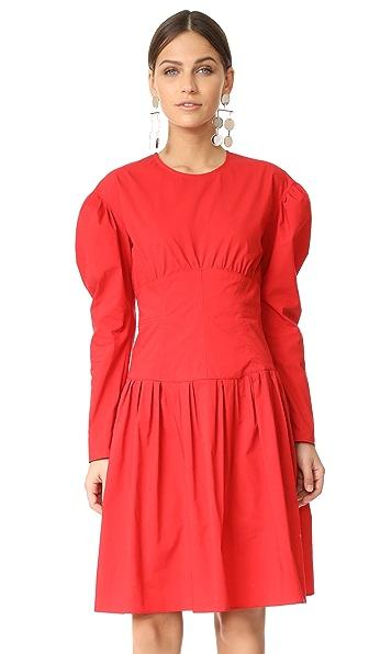 Sonia by Sonia Rykiel Poplin Long Sleeve Dress In Red