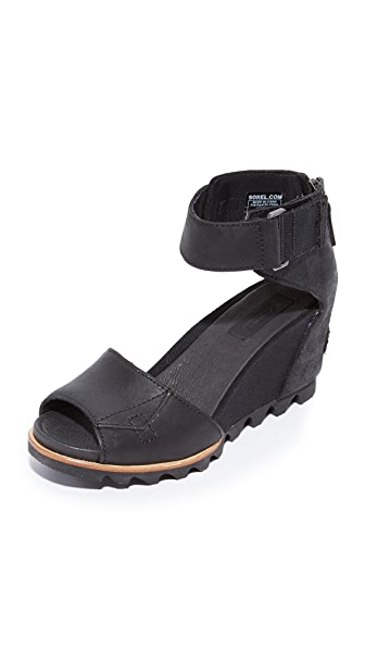 Sorel Joanie Wedge Sandals - Black/ Sea Salt