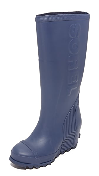 Sorel Joan Tall Rain Wedge Boots - Nocturnal/Black