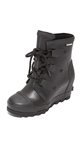 Sorel Joan Rain Wedge Booties - Black/ Sea Salt