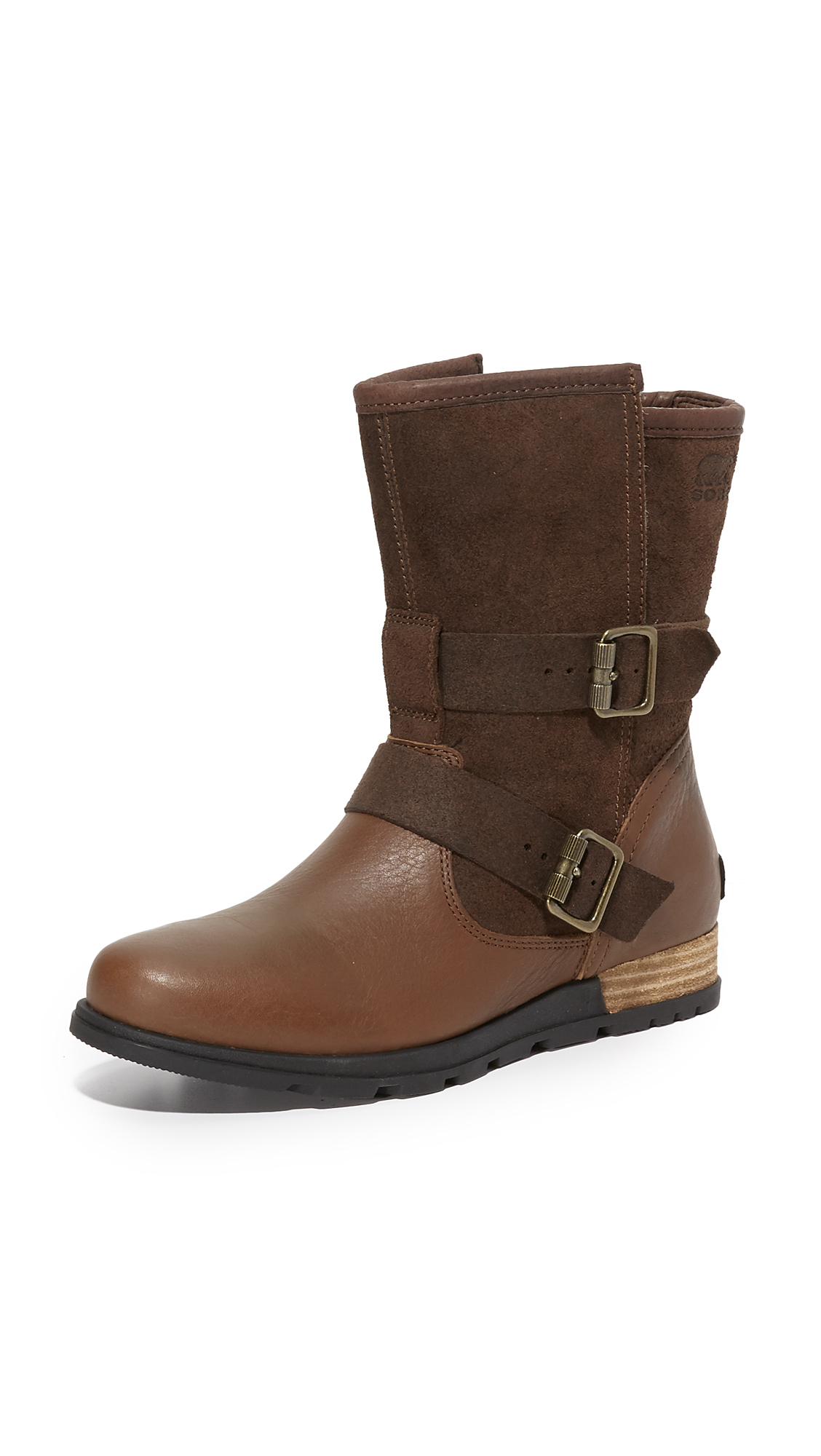 sorel female sorel major moto boots tobaccobritish tan