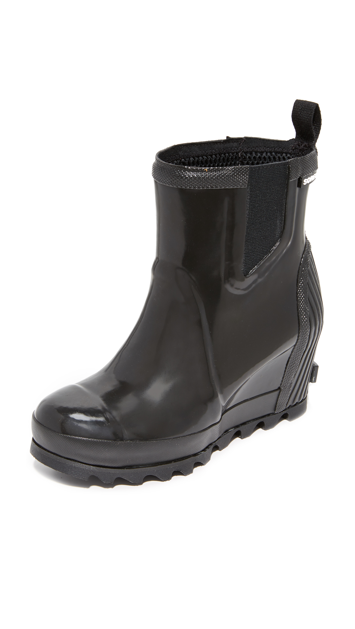 Sorel Joan Rain Wedge Chelsea Gloss Rain Booties - Black/Sea Salt