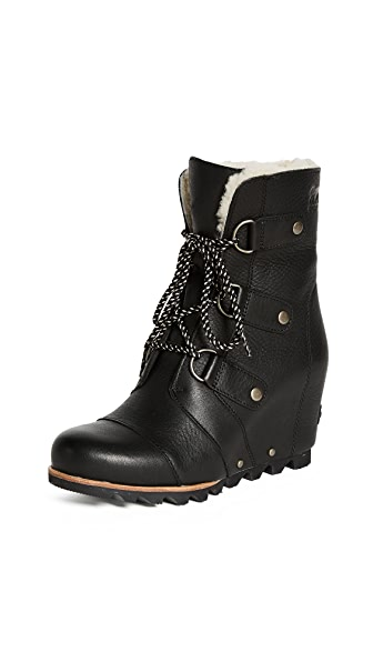 Sorel Joan of Arctic Wedge Mid Shearling Boot In Black/Ancient Fossil