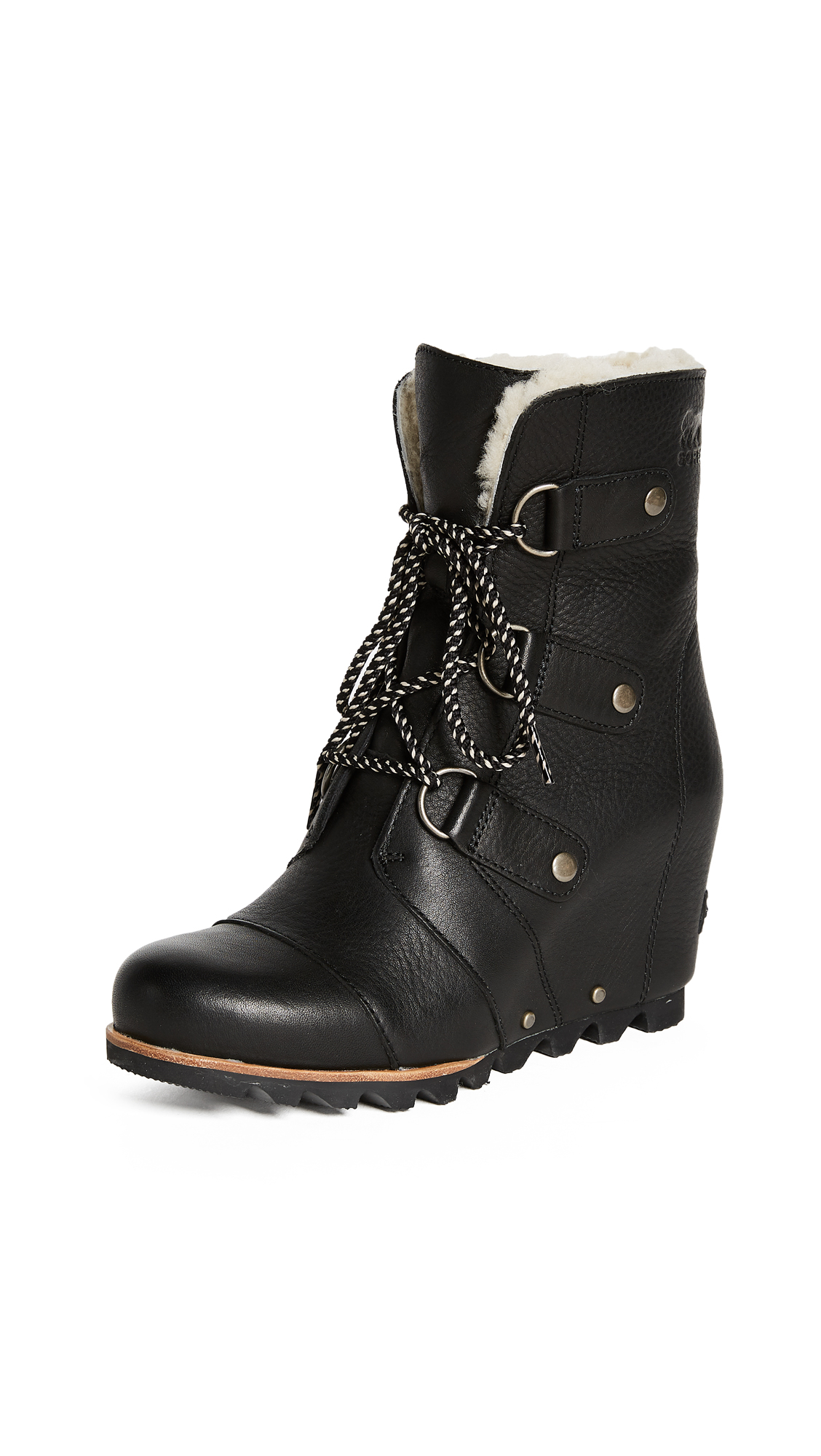 Sorel Joan of Arctic Wedge Mid Shearling Boot - Black/Ancient Fossil