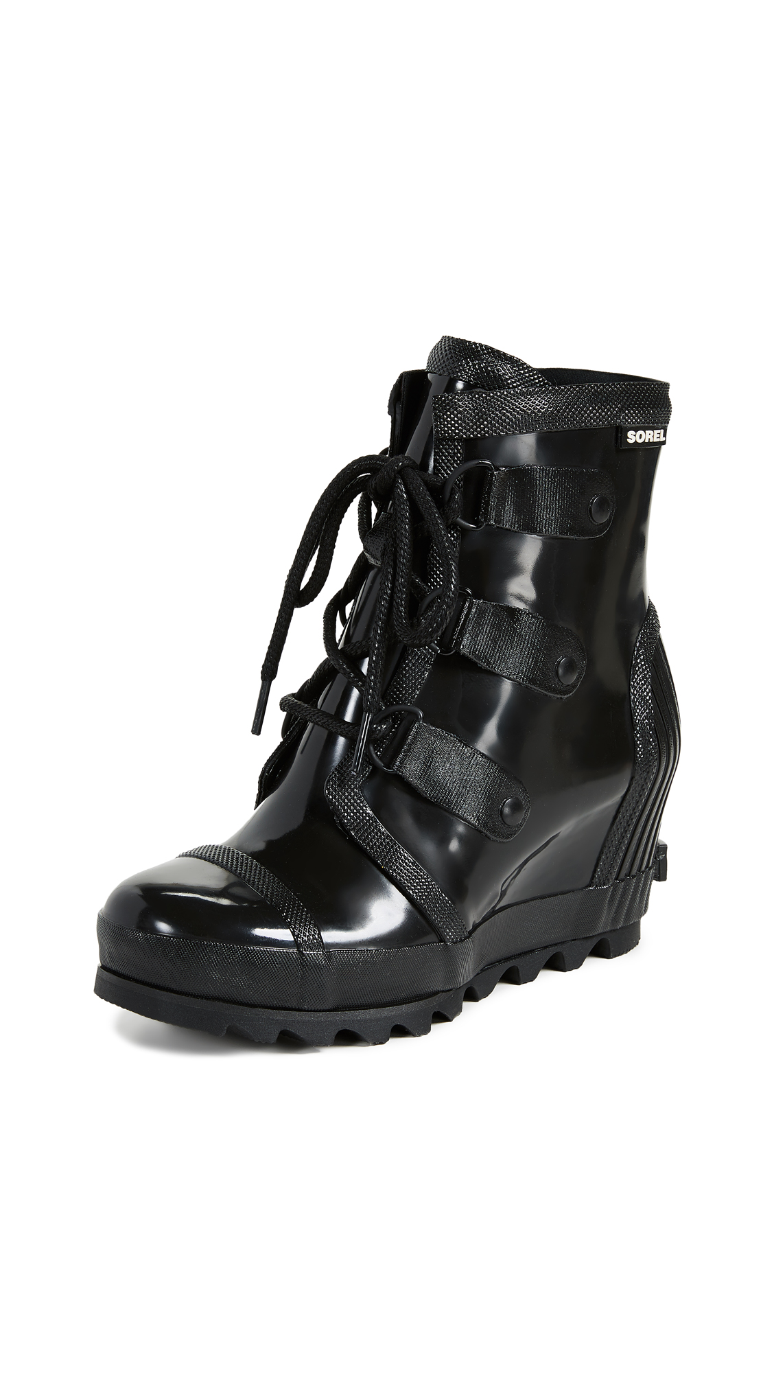 Sorel Joan Rain Wedge Gloss Boots - Black/Sea Salt