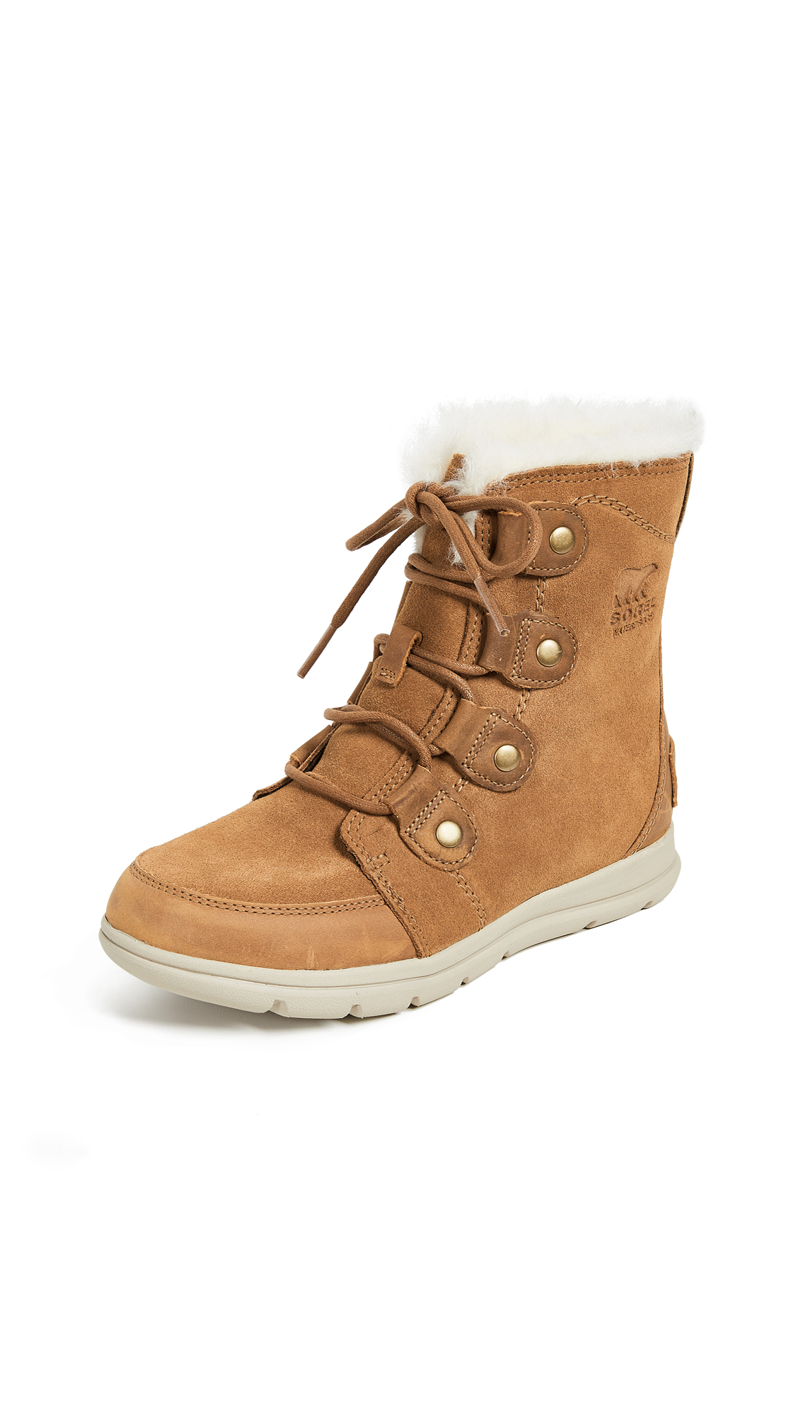 Explorer Joan Faux Fur-Trimmed Waterproof Suede And Leather Ankle Boots in Camel Brown