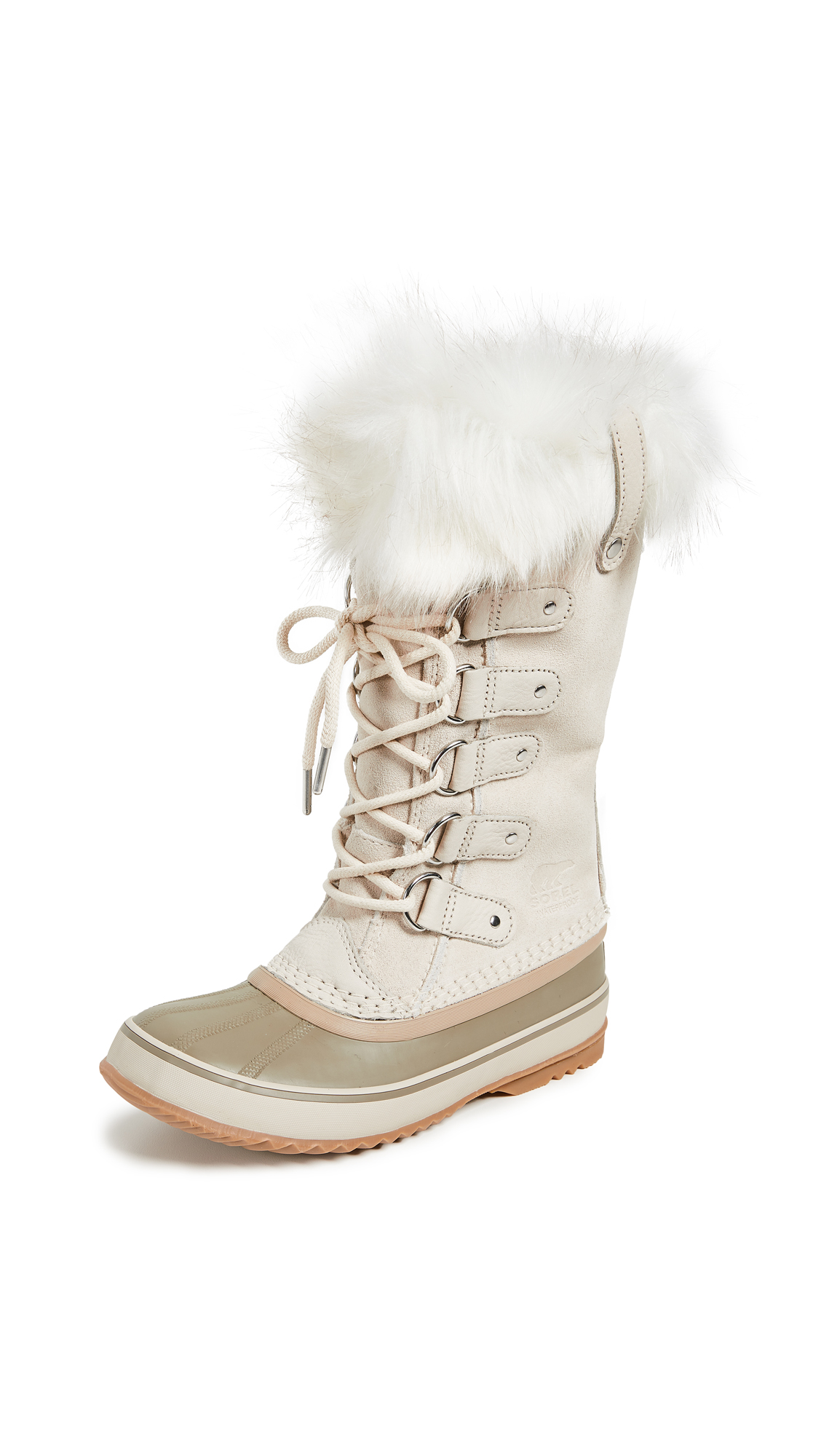 Joan Of Arctic Faux Fur-Trimmed Waterproof Suede And Rubber Boots, Fawn