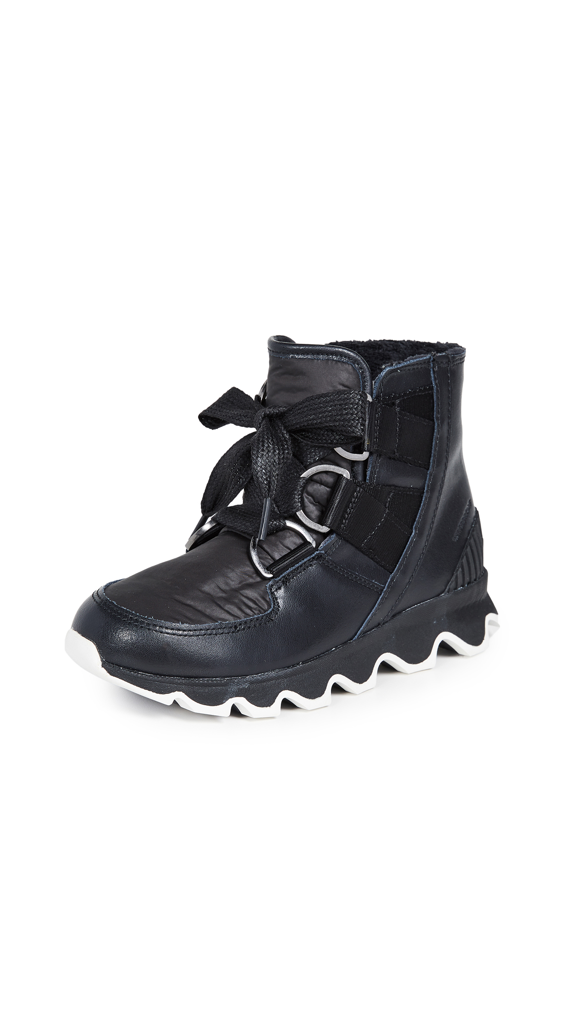Sorel Kinetic Short Lace Up Booties - Black/White