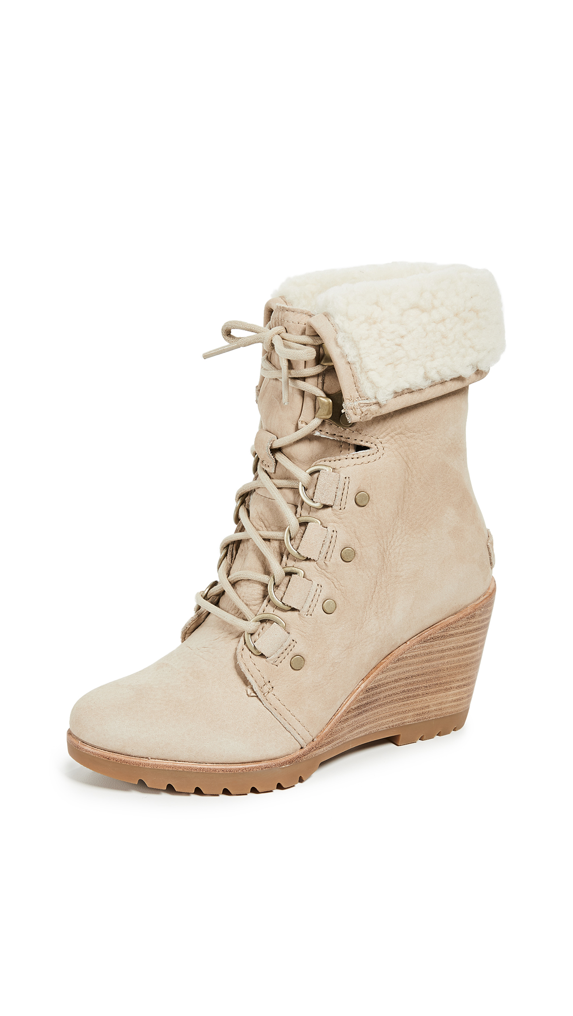 Sorel After Hours Lace Up Shea Boots - Oatmeal