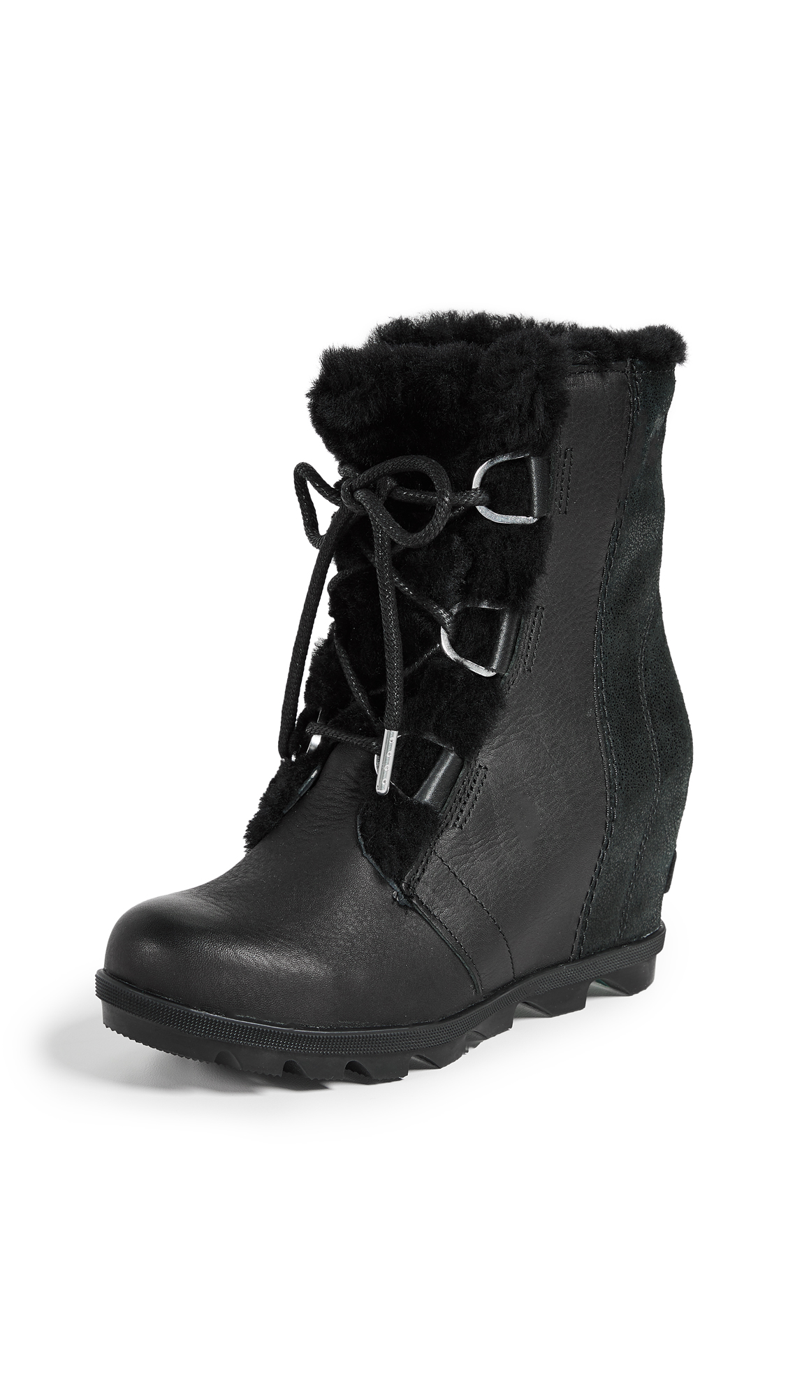 Joan Of Arctic Ii Lux Wedge Genuine Shearling Bootie in Black