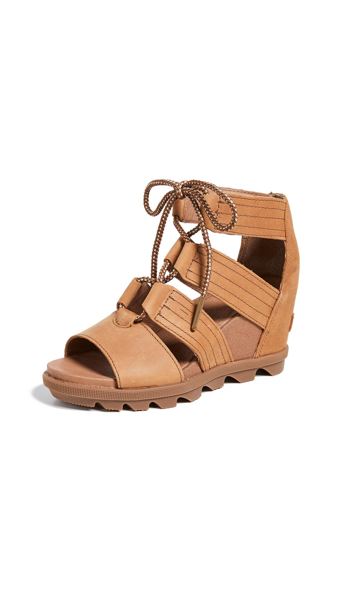 Sorel Joanie II Lace Wedge Sandals - Camel Brown