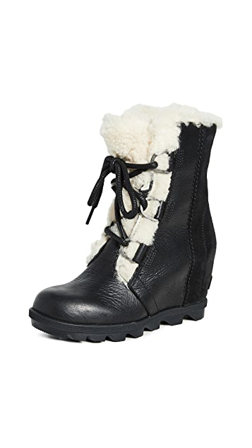 Photo of  Sorel Joan Wedge Shearling Boots- shop Sorel Boots, Flat online sales