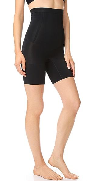 SPANX High Waist Mid Thigh Shorts In Very Black