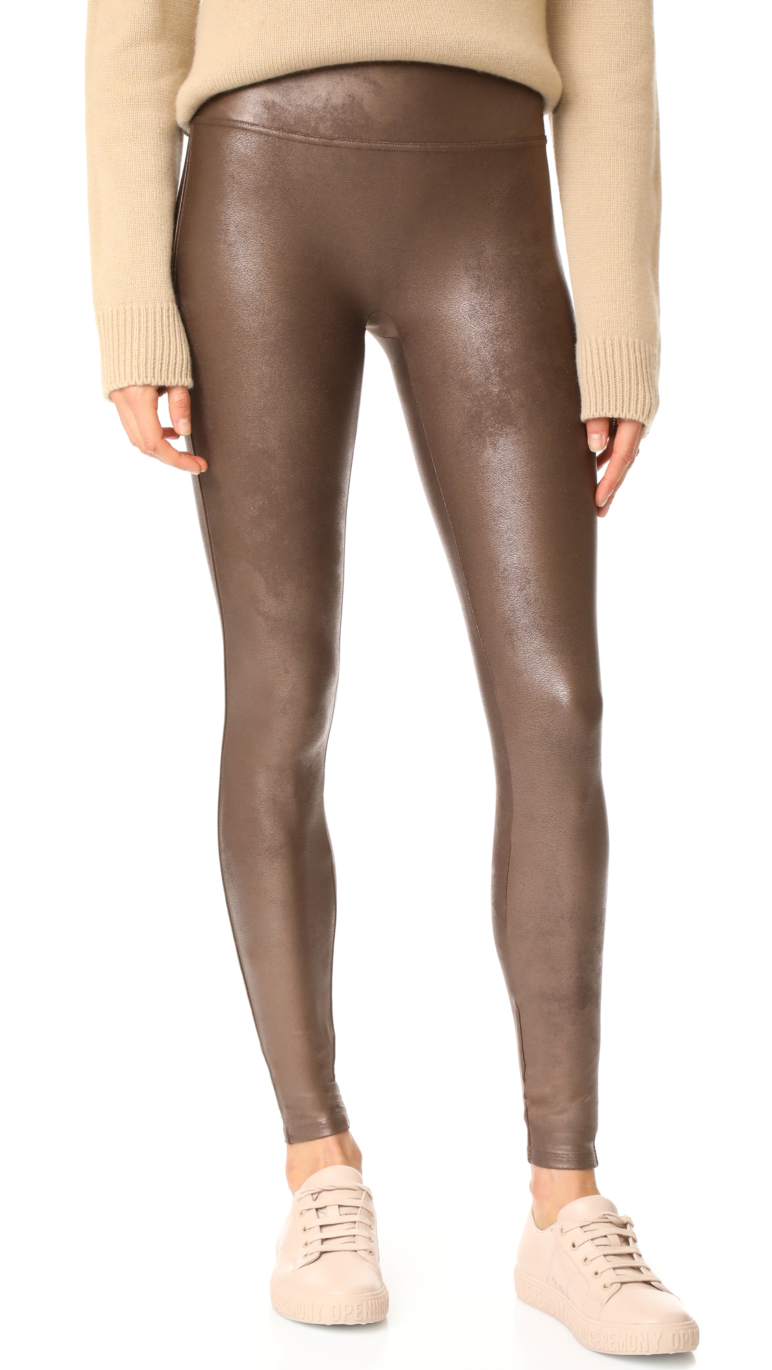 SPANX Faux Leather Leggings - Bronze Metal