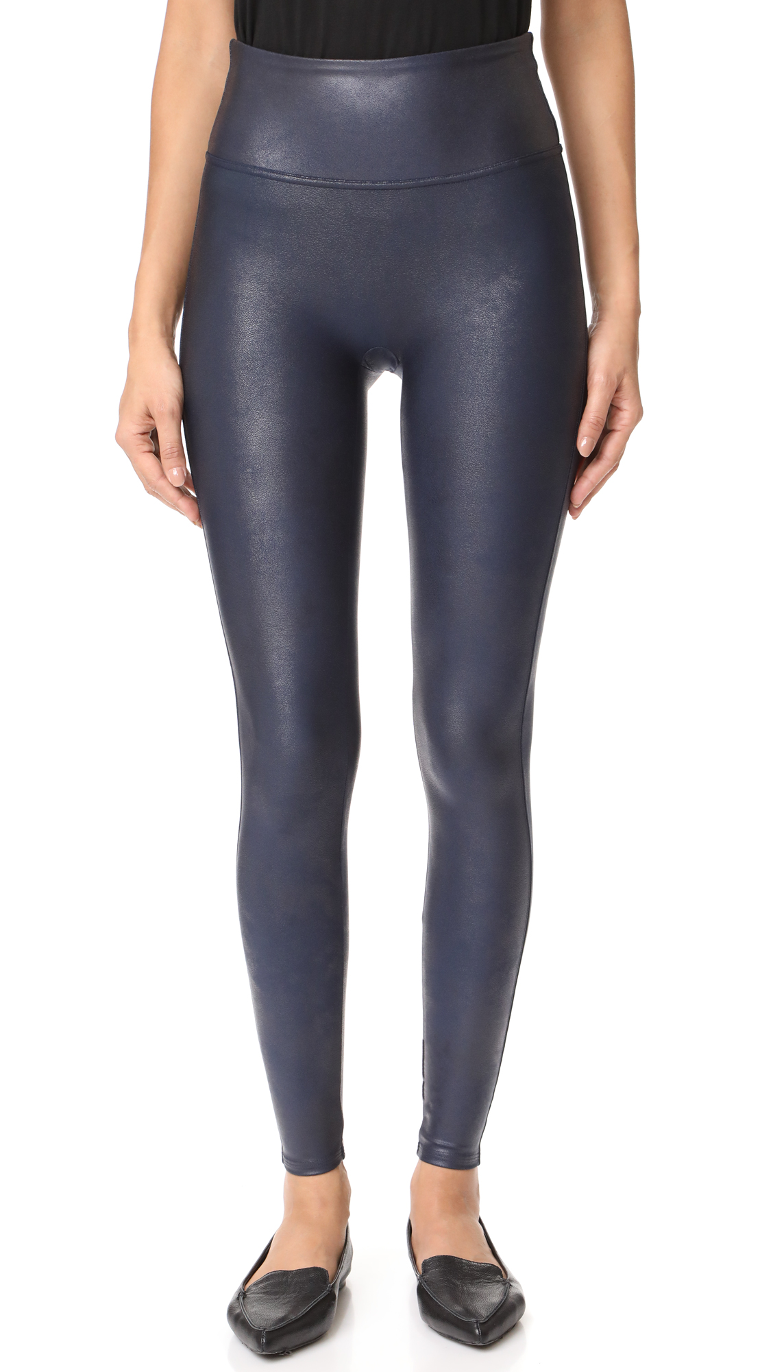 SPANX Faux Leather Leggings - Night Navy
