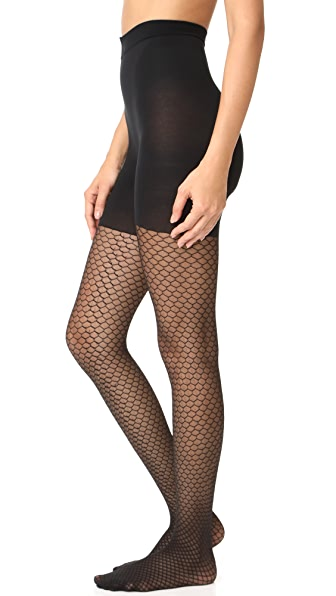 SPANX Honeycomb Fishnet Tights - Very Black