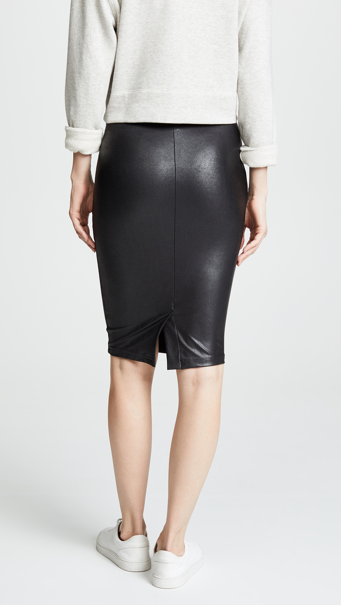 Leather faux skirt h