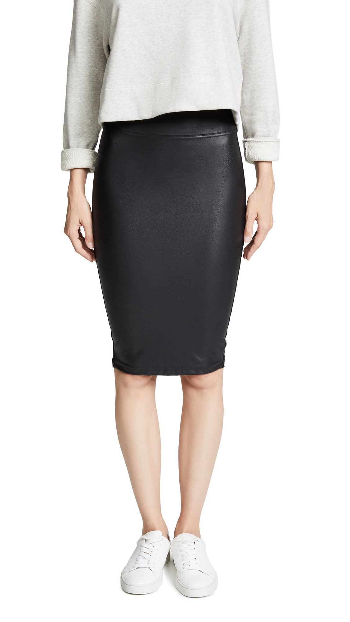 SPANX Faux Leather Pencil Skirt In Very Black