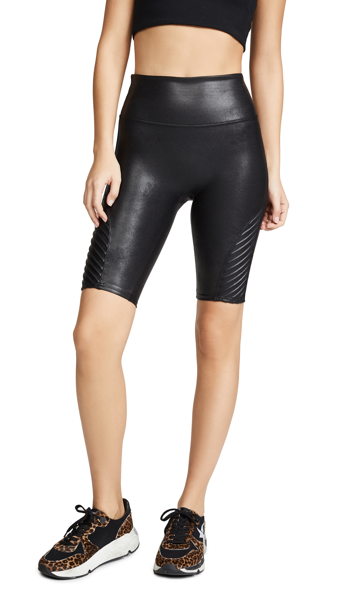 SPANX Faux Leather Moto Shorts