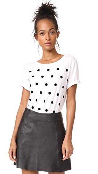 South Parade Velvet Polka Dots Tee - White