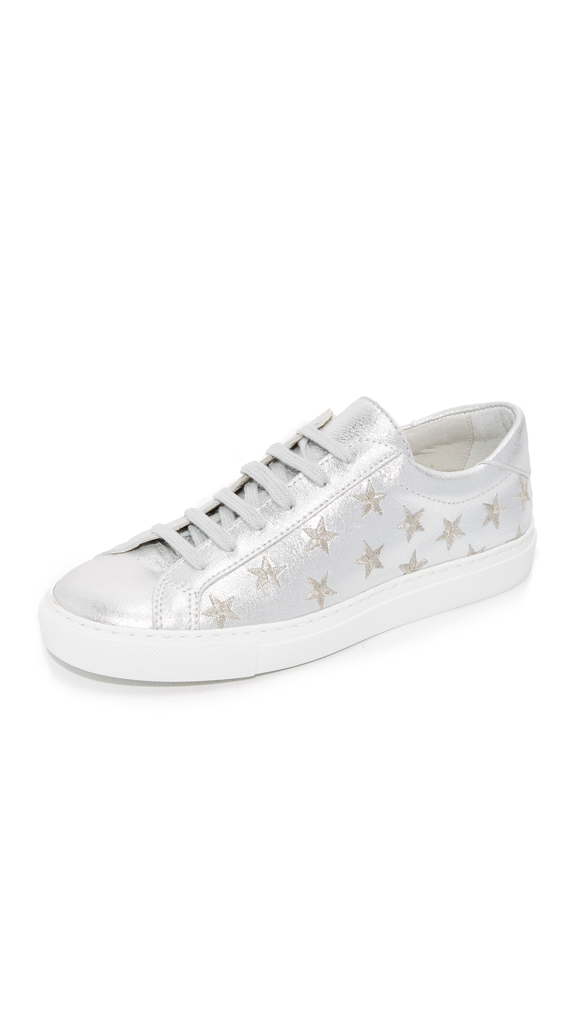 South Parade Stars Leather Lace Up Sneakers - Silver/Silver