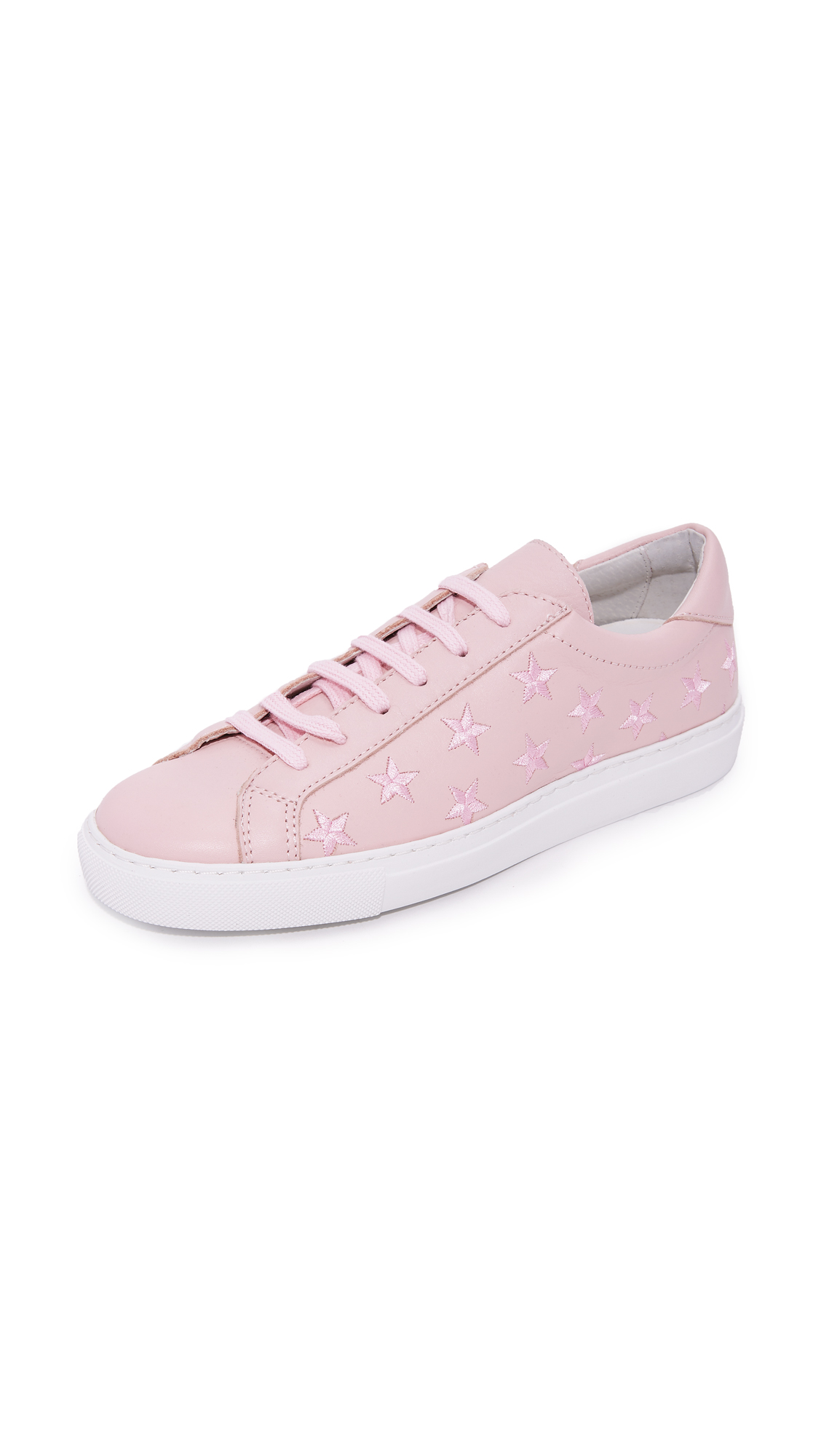 South Parade Stars Leather Lace Up Sneakers - Pink/Pink