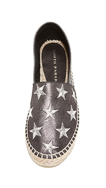 South Parade Star Embroidered Leather Espadrilles