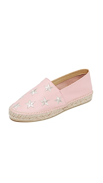 South Parade Star Embroidered Leather Espadrilles - Pink/Silver