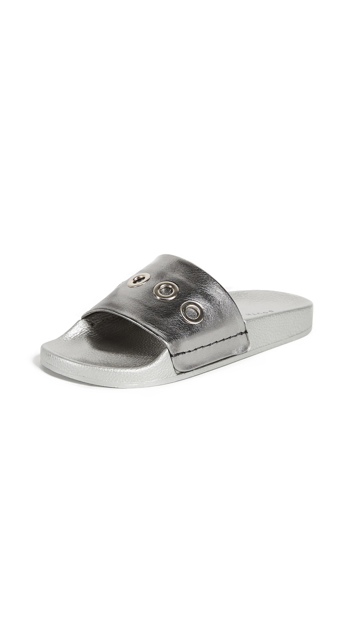 South Parade Eyelet Slides - Dark Silver