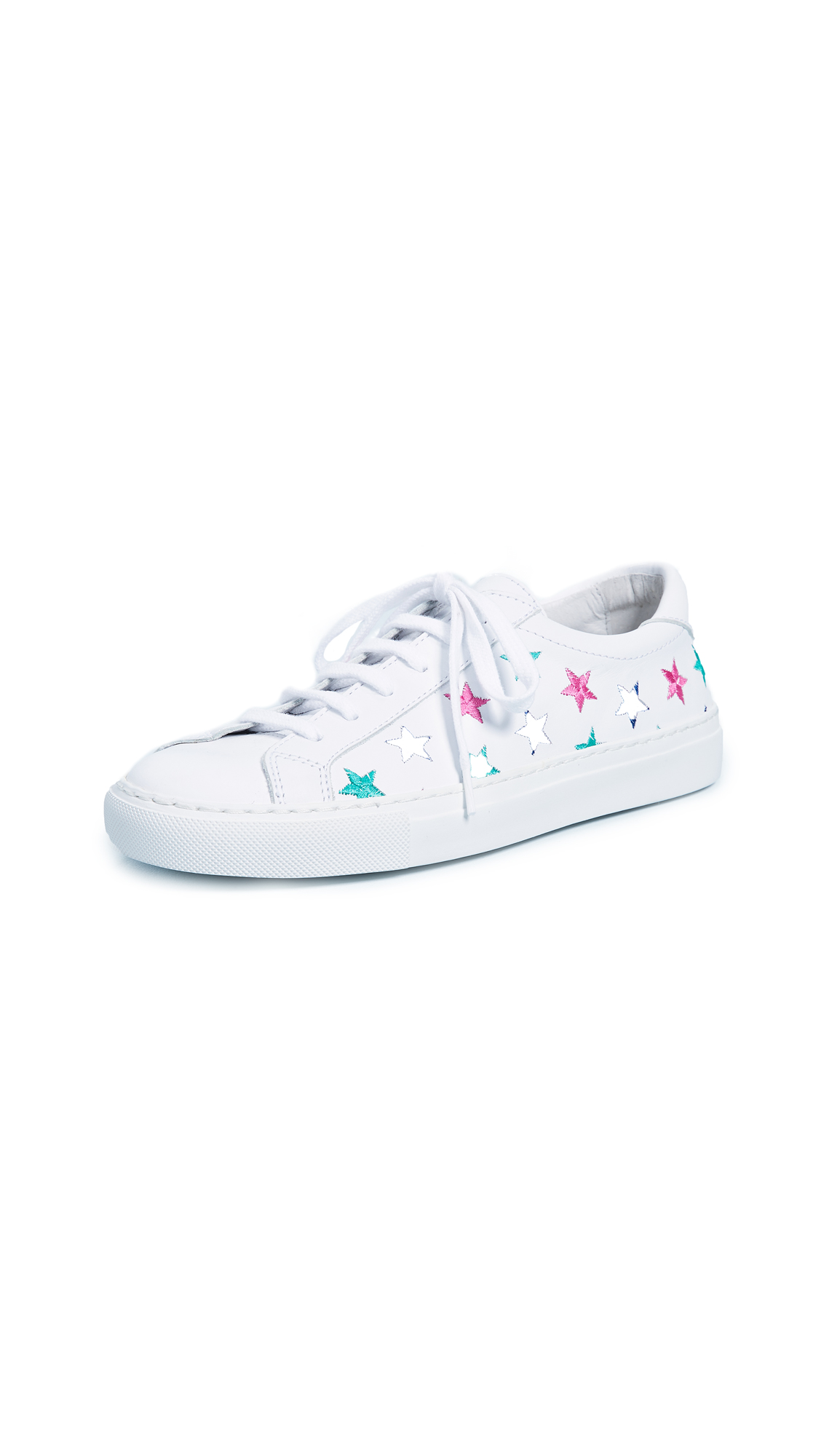 South Parade Stars Leather Lace Up Sneakers - White/Multi