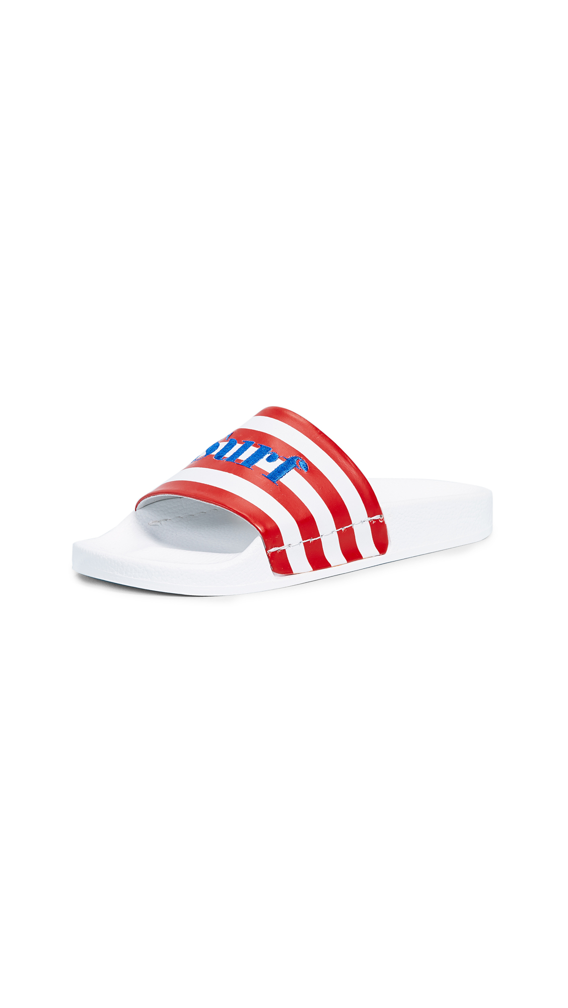 South Parade Swim Surf Pool Slides - White/Red Stripes