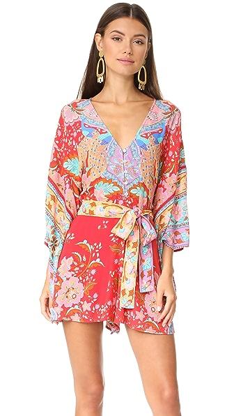 SPELL Lotus Kimono Romper - Ruby