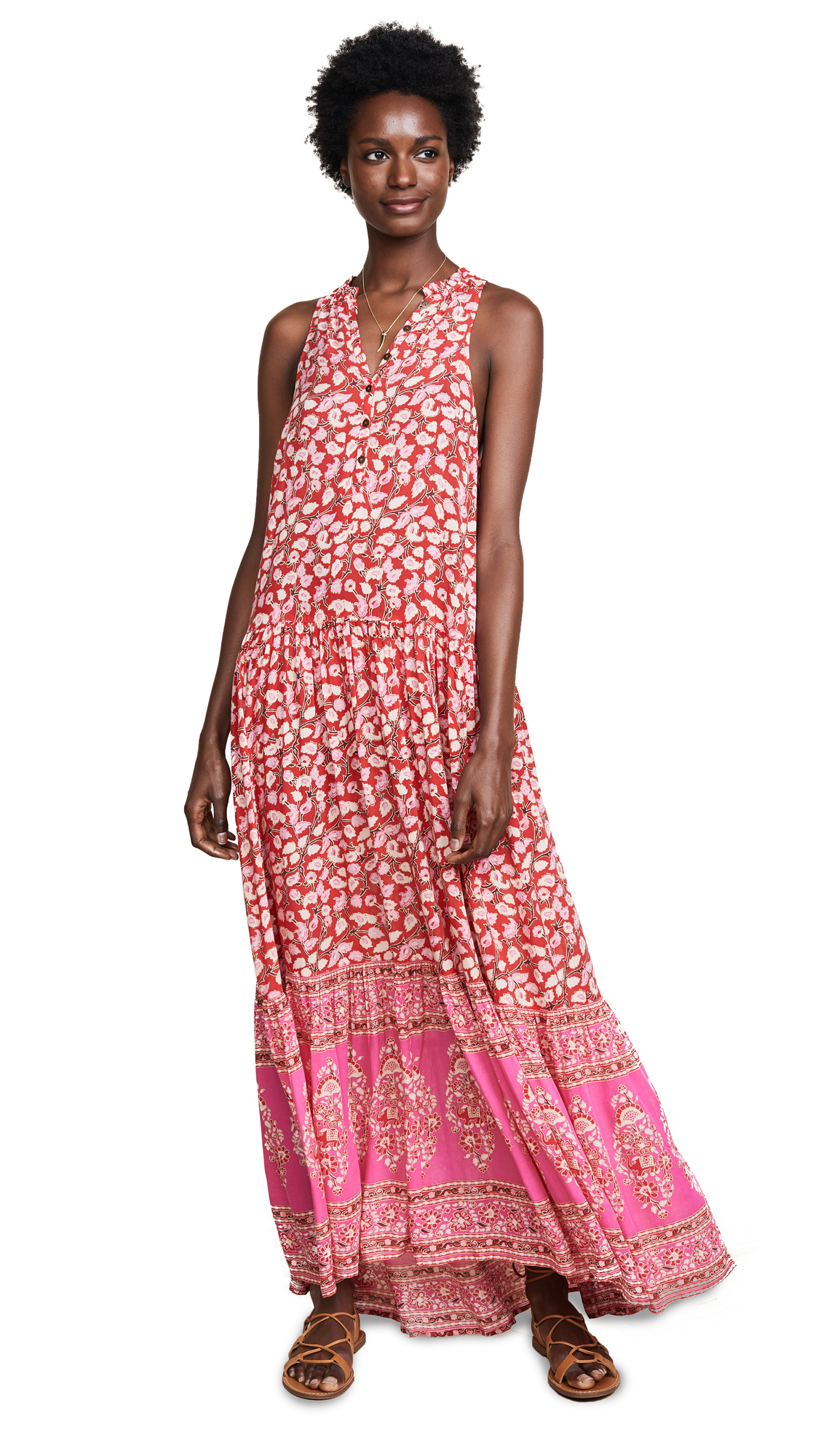 Spell and the Gypsy Collective Delirium Maxi Dress In Red Coral