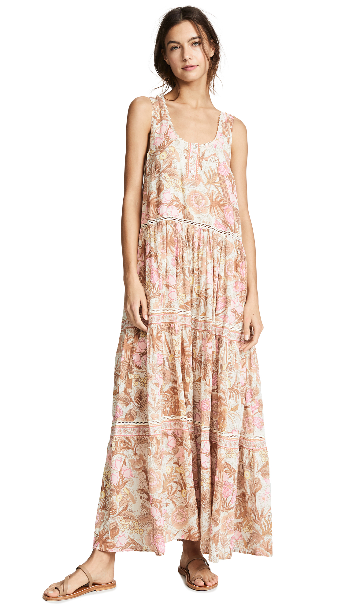 SPELL AND THE GYPSY COLLECTIVE Jungle Maxi Sundress in Cream